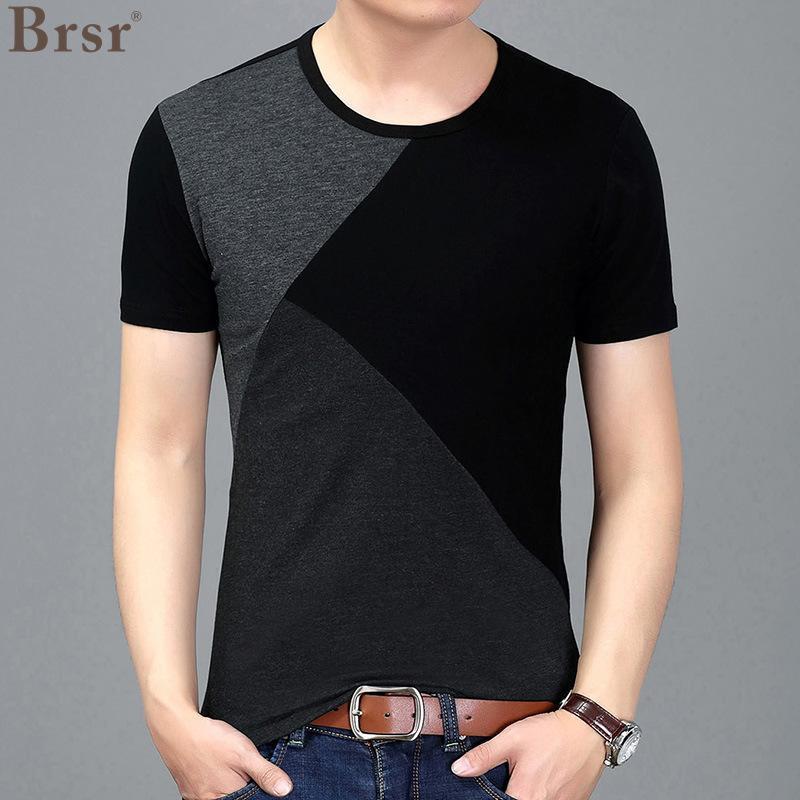 Мужские футболки летние топы мода футболка мода футболка прохладный с коротким рукавом личности сращивание мужское досуг выращивание футболки негабаритная футболка