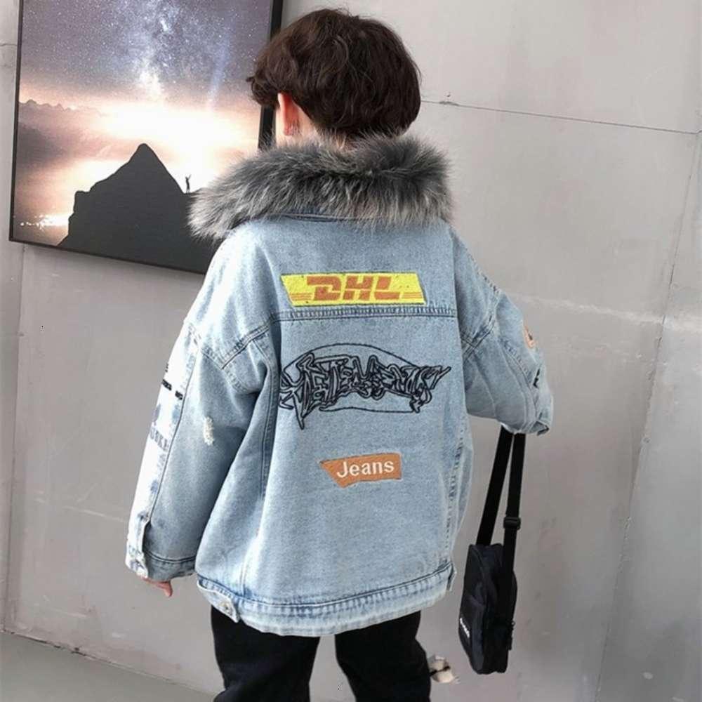 Толстовки для толстовки физические стрелковые воротники зимней ткани мальчика воротник плюшевые джинсовые пальто среднего и большой детский ET иностранный модный бренд