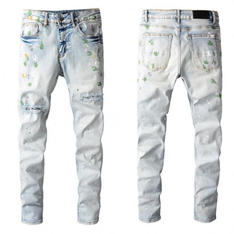 Jeans da uomo di alta qualità Jeans intressed motociclista jean rock skinny sottile strappato foro stripe stripe santable serpente ricamo pantaloni denim