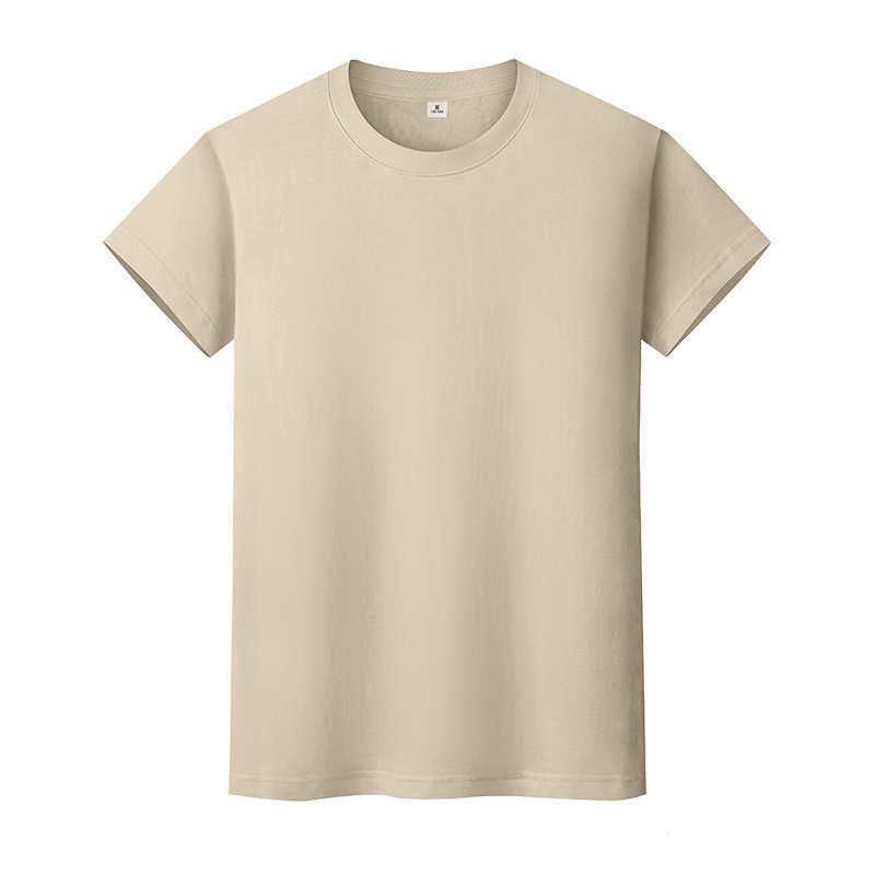 Novo Round Neck Color Sólido T-shirt Verão de Algodão de Algodão Camisa de mangas curtas Mens e mulheres Meia-mangas 9RQ7