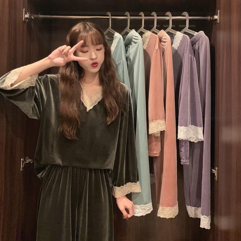 La primavera y el otoño pueden usar un traje de casa, el estilo de encaje dulce de las mujeres pijamas + ocio elástico largo ropa de dormir largo conjunto de dos piezas