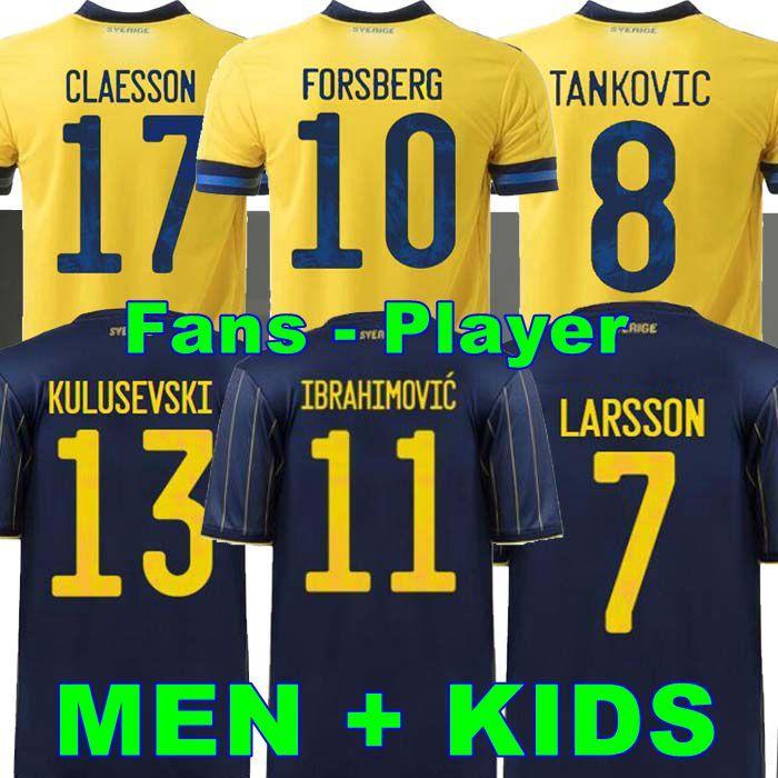 المشجعون لاعب النسخة 2021 السويد لكرة القدم جيرسي الصفحة الرئيسية ابراهيموفيتش Kulusevski Berg فورسفون لارسون Tankovic Isak Claesson كرة القدم قميص الرجال + أطفال