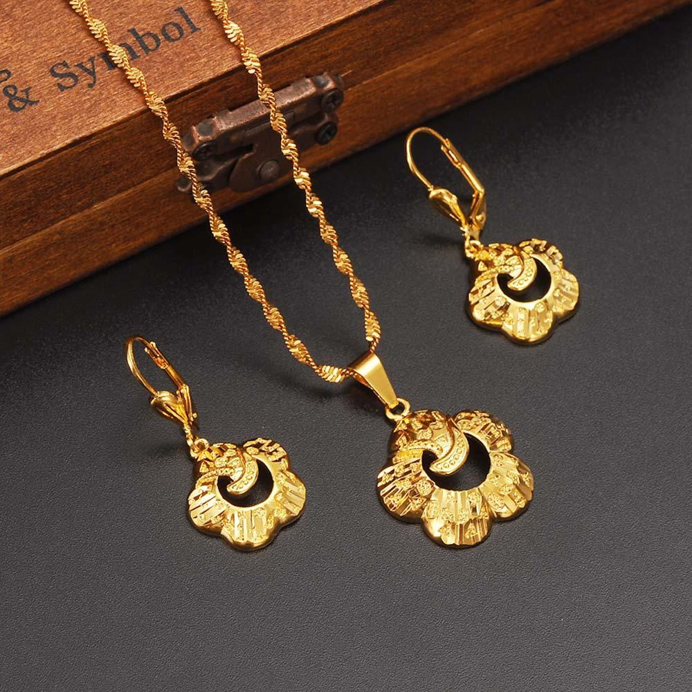 18 k fino sólido g ouro moda de ouro caráter específico voga colar brincos de jóias conjunto de jóias etíopes