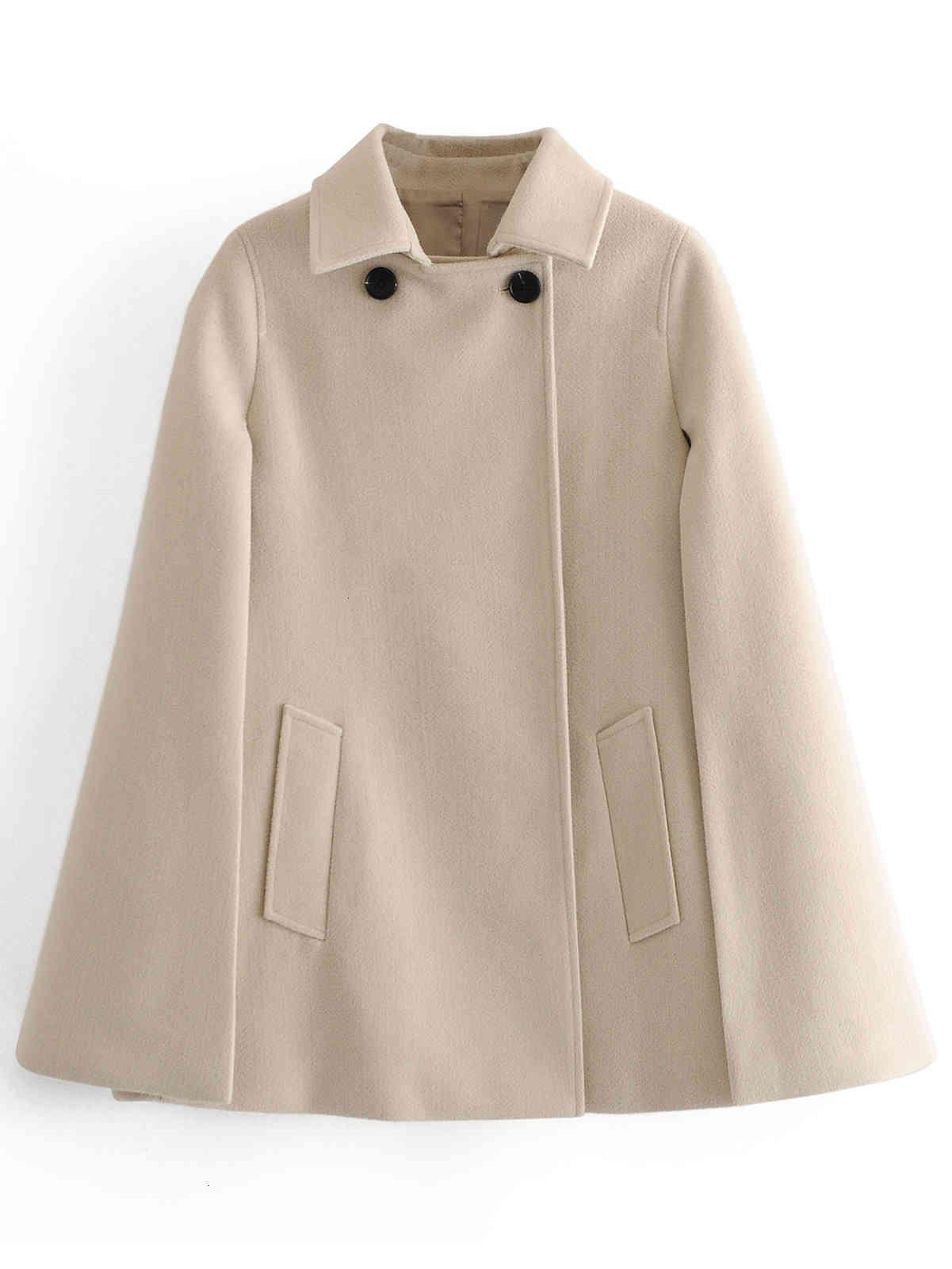 Jaquetas femininas 89127 Outono Europeu e American Cape Coat B9nd