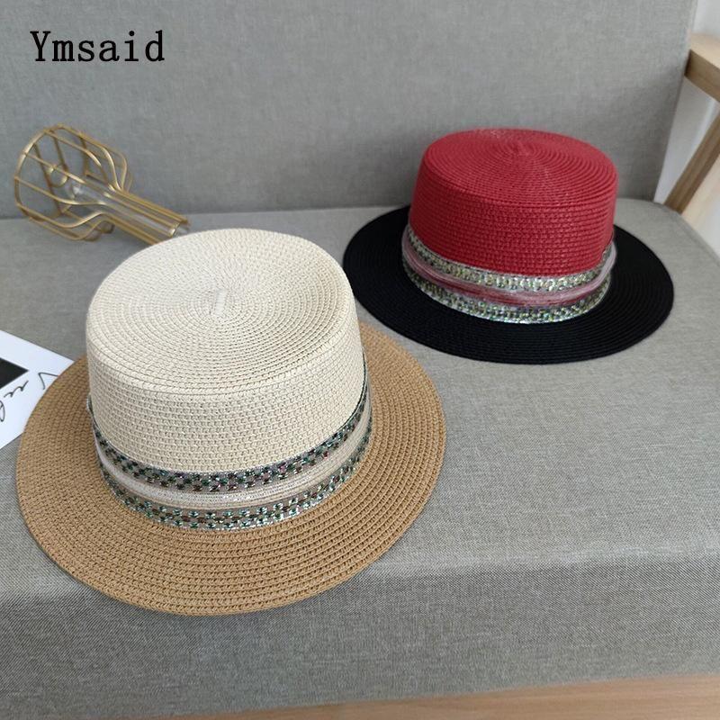 고품질 태양 모자 보트 여성 기질 Bowknot 플랫 탑 짚 비치 모자 레이디 여름 안티 UV 모자 와이드 브림 보호
