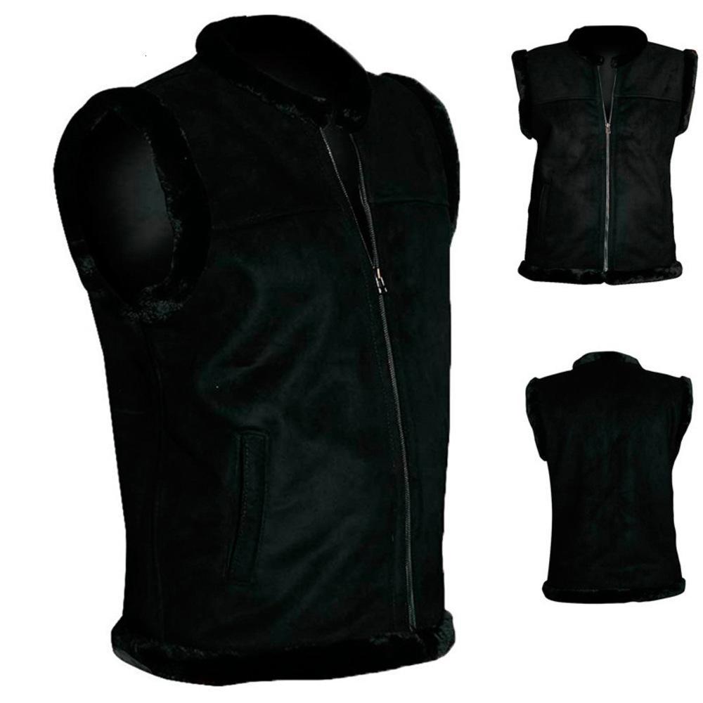 Новый стиль мужской жилет меховой мех интегрированный сплошной цвет молнии теплый осенью и зимой 2020