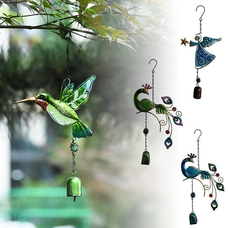 Dekorative Objekte Figuren Bunte Wind Chime Elegante Garten Pfau Metall Design Beruhigende Melodie Glasfarbe Für Home Outdoor PW