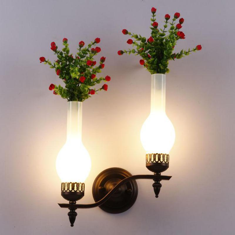 Wall Lamp Pastoral Creative Flowers Vase Led E14 For Entrance Bar Restaurant Balcony Deco Iron Glass Light 1/2 Heads 2163