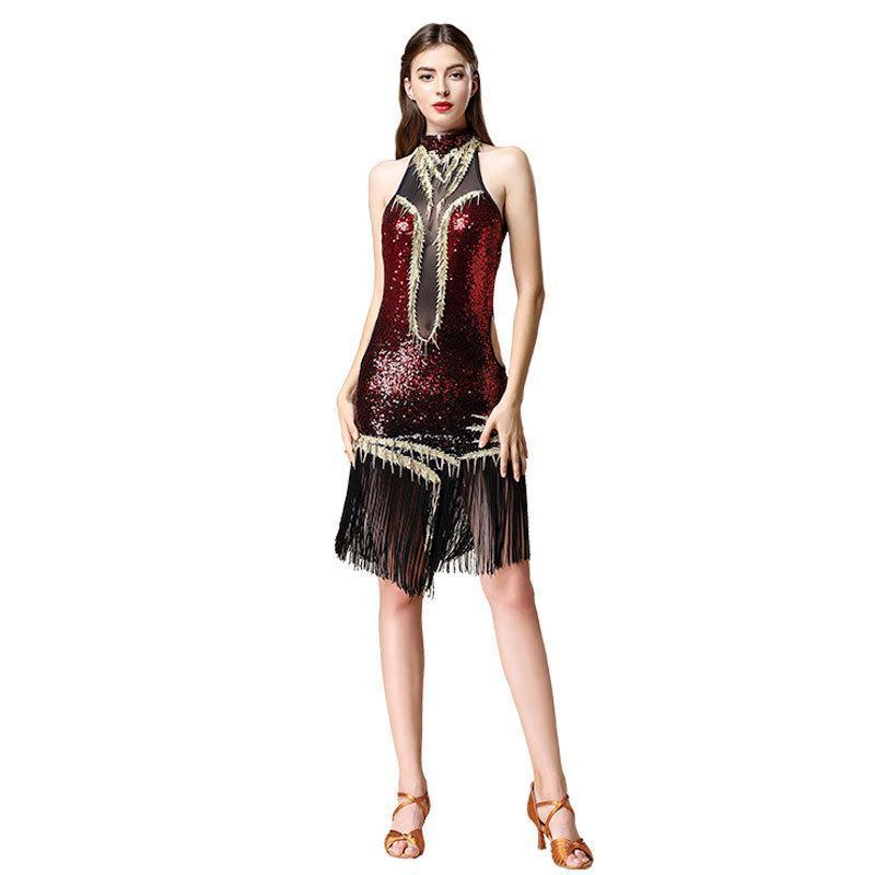 라틴 삼바 댄스 드레스 여성용 도려 섹시한 프린지 장식 조각 의상 치마 찰스턴 드레스 Gatsby Flapper