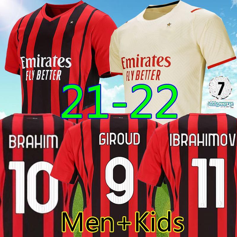 تايلاند 21 22 ac ميلان بعيدا كرة القدم جيرسي جيرود إبراهيموفيتش 2021 2022 تونالي ماندزوكيك كوجر كيسي ثيو إبراهيم الرجال الاطفال مجموعات أعلى طقم كرة القدم قميص