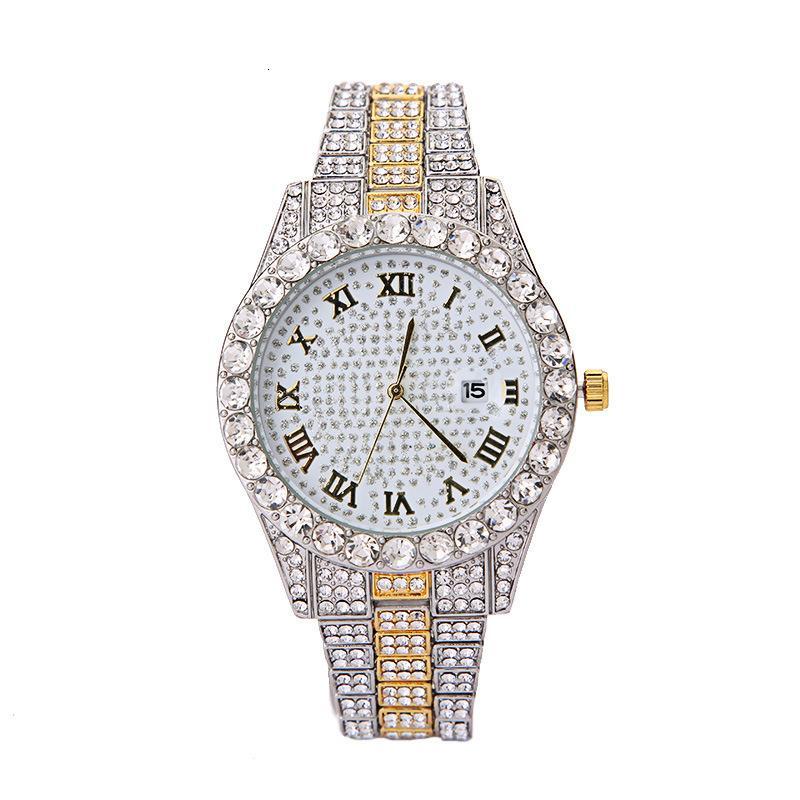 Relógios de pulso de aço tira de aço liga diamante romano calendário de quartzo relógio masculino e relógio feminino