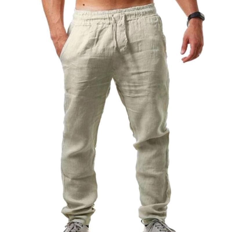 남성용 바지 솔리드 캐주얼 스포츠 면화 린넨 탄성 허리 망 의류 pantalons 붓는 남자