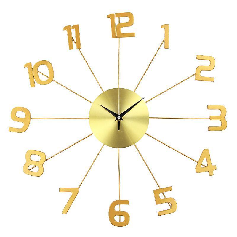 Настенные часы Большой Nordic Современный светящийся висит большой золотой металл дома украшения часы 3D античный арт винтаж Horloge