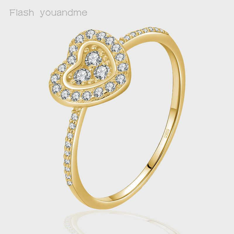Ring Silver Classic Hearts Ring Solid 925 Sterling Silver Dazzling Zircon Charm Finger Rings For Women Wedding Fine Jewelry Y0723