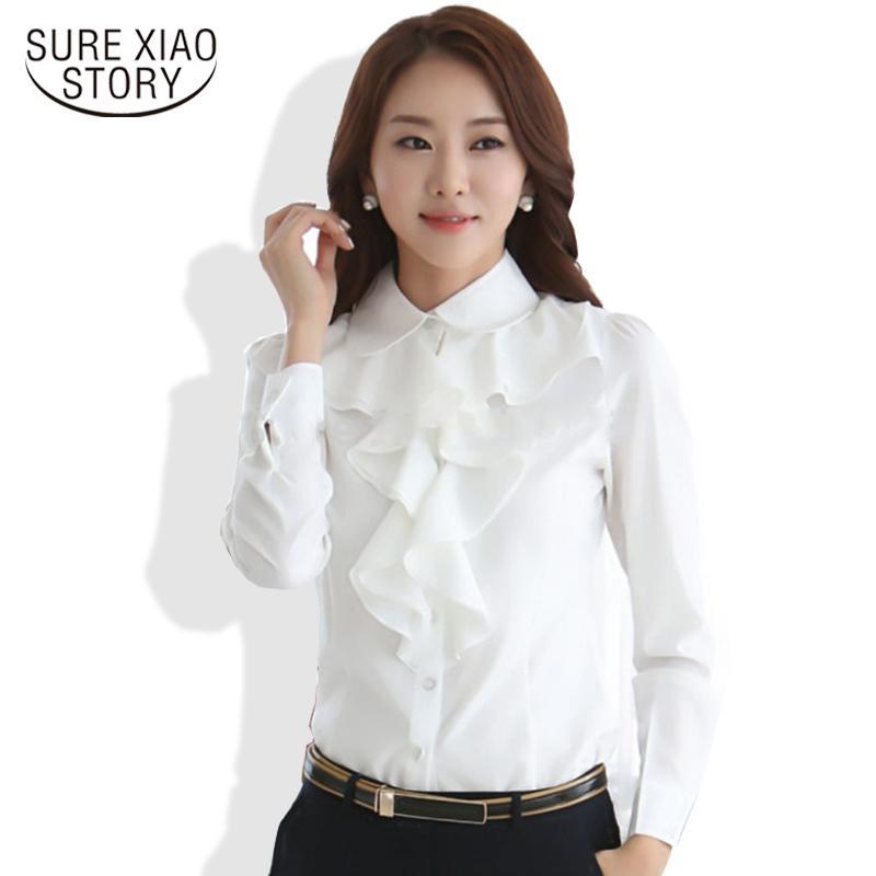 Primavera nueva llegada gasa de manga larga camisa estilo coreano moda volantes damas blanco negro blusas mujer ropa 8c81 x0521