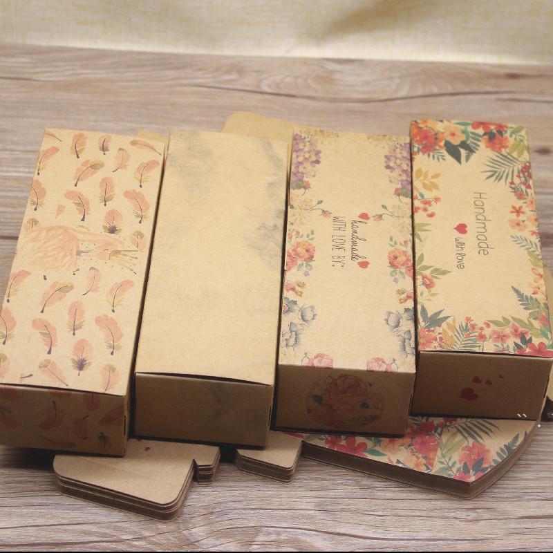 Rectagnle regalo caja de embalaje patrón de mármol presente accesorio embalaje contenedor blanco kraft boda fiesta té hoja cajas BWA4615