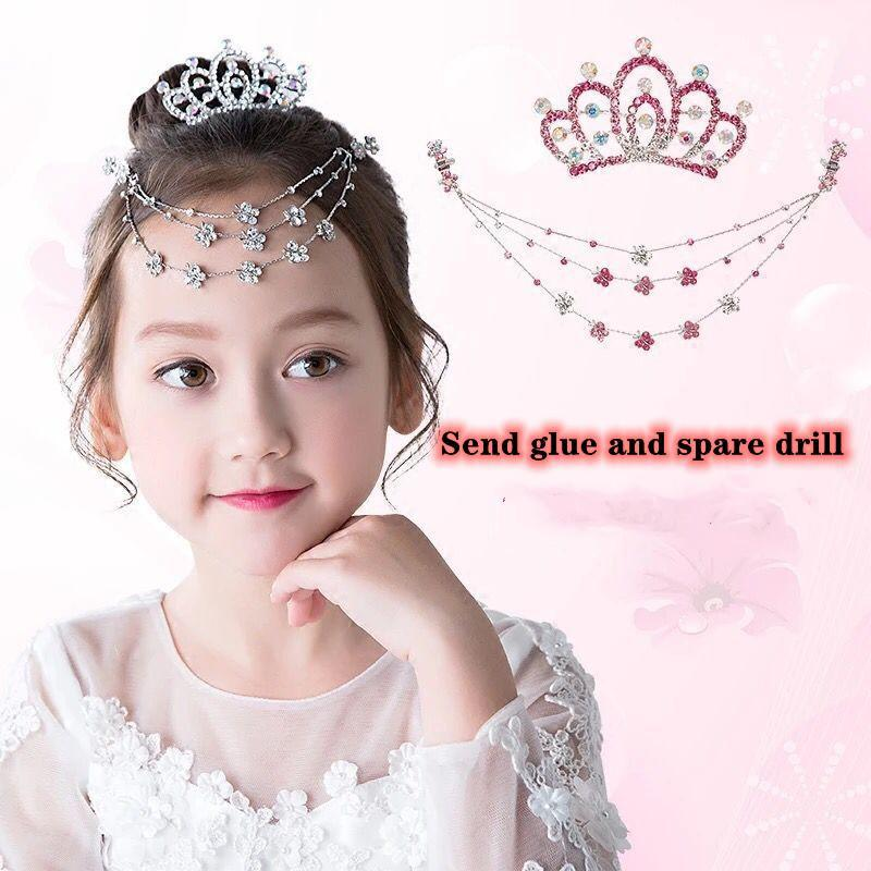 크라운 머리 장식 어린이 크리스탈 다이아몬드 이마 브로프 심장 체인 플레이트 헤어 장식 소녀 헤어핀 공주 세트 액세서리