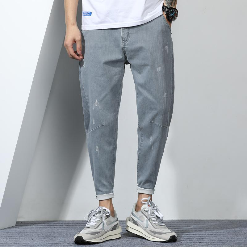 Jeans masculinos outono solto apto pequeno perna reta capris 6021