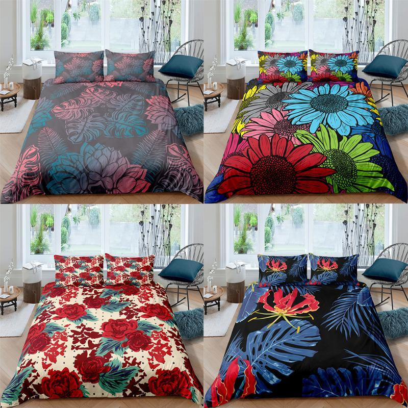 Flower Pattern Comforter Cover Pillowcase Bedding Set Bed Linens Quilts Twin Full Queen King Size Floral Duvet Bedclothes Sets
