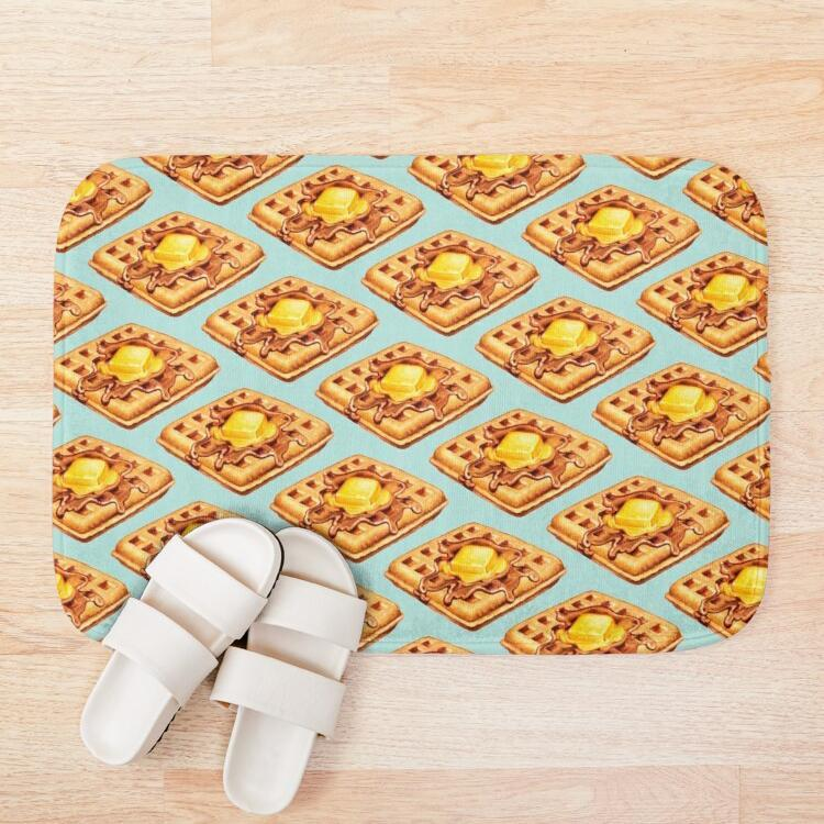 Bath Mats Waffle Pattern Mat Anti-slip Mediterranean Bathroom Kitchen Bedroon Floor Home Entrance Rugs Kids Prayer