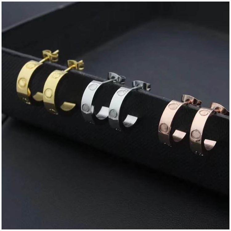 Titanyum Paslanmaz Çelik Aşk Küpe Eardrop Altın Gümüş Gül Altın Kadınlar Için Fermuar Kutusu Ile Takı