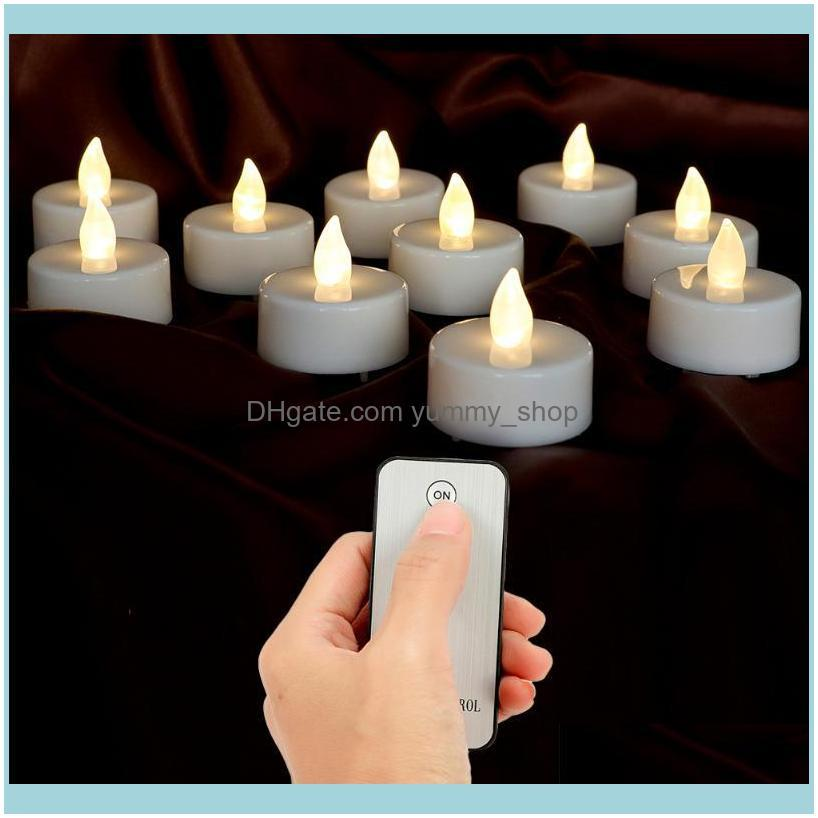 Décor Home & Garden 10Pcs Battery Votive With Remote Control Led Candles Small Lights Party Electronic Festive Decor Drop Delivery 2021 Vtba
