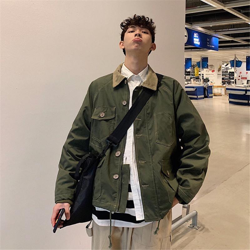 Herren Frühling Arbeitskleidung Tasche Cord Cord-Kragen Stitching Jacke Japanische Harajuku-Stil Lose Armee Grüne Khaki Top Jacke Mantel