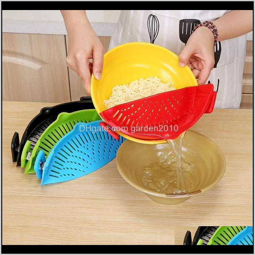 Colanders Kitchen Tools Kitchen, Dining Bar Home & Garden Drop Delivery 2021 Creative Clip On Pot Strainer Sile Colander Water Filter Fit Dif