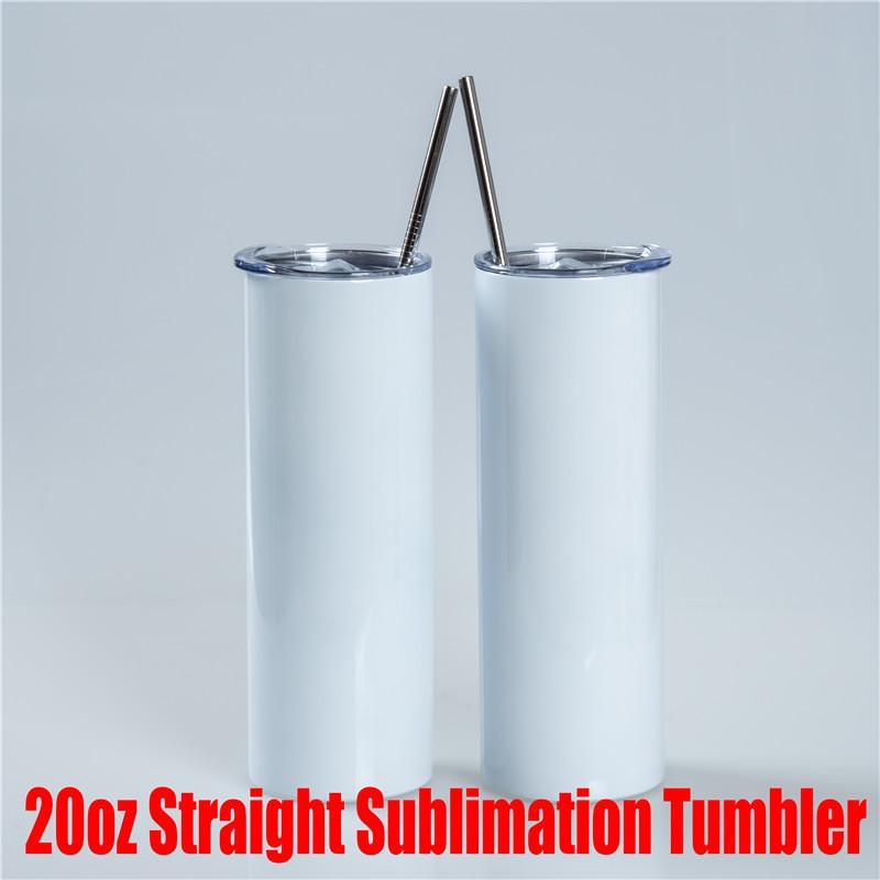 20z gerade Tassen Tumbers Thermo Wärmeübertragung DIY Sublimation Leere Wasserflaschen für Zuhause und Reisen