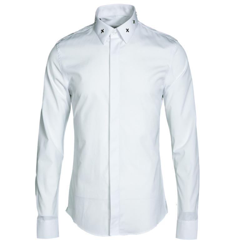 camiseta camiseta camiseta homme marca decorativa metal cruz camisa hombres casual manga larga slim fit shirts de alta calidad M-4XL