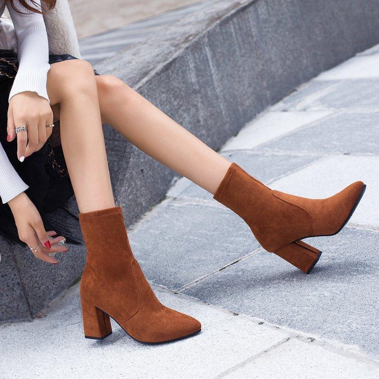 Botas preta marrom rebanho grosso salto tornozelo mulheres mulheres sapatos agradável elegante elegante altamente pontudo dedo manter botinhas curtas quentes