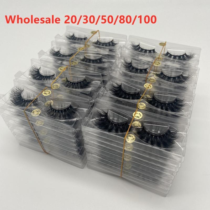 Yanlış Kirpik Toptan 10/20/30/50/100 Doğal 5D 100% Gerçek Vizon Lashes Satıcı Kabarık Dağınık Kadın Güzellik Makyaj Kirpik