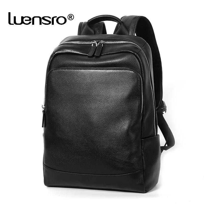 100% de couro genuíno mochila homens moda grande capacidade shoolbag para adolescente couro couro portátil mochila homens notebook saco 201119