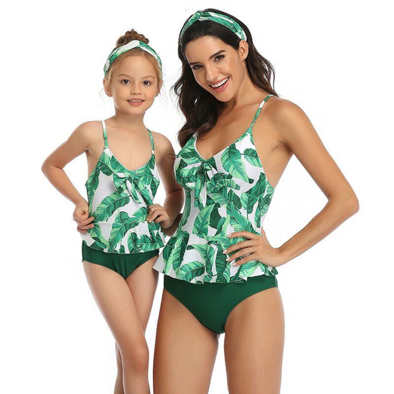 Family Matching Swimwear Mother Daughter Women Girl Floral Bikini Summer Beach Swimsuit Bathing Sets Outfits