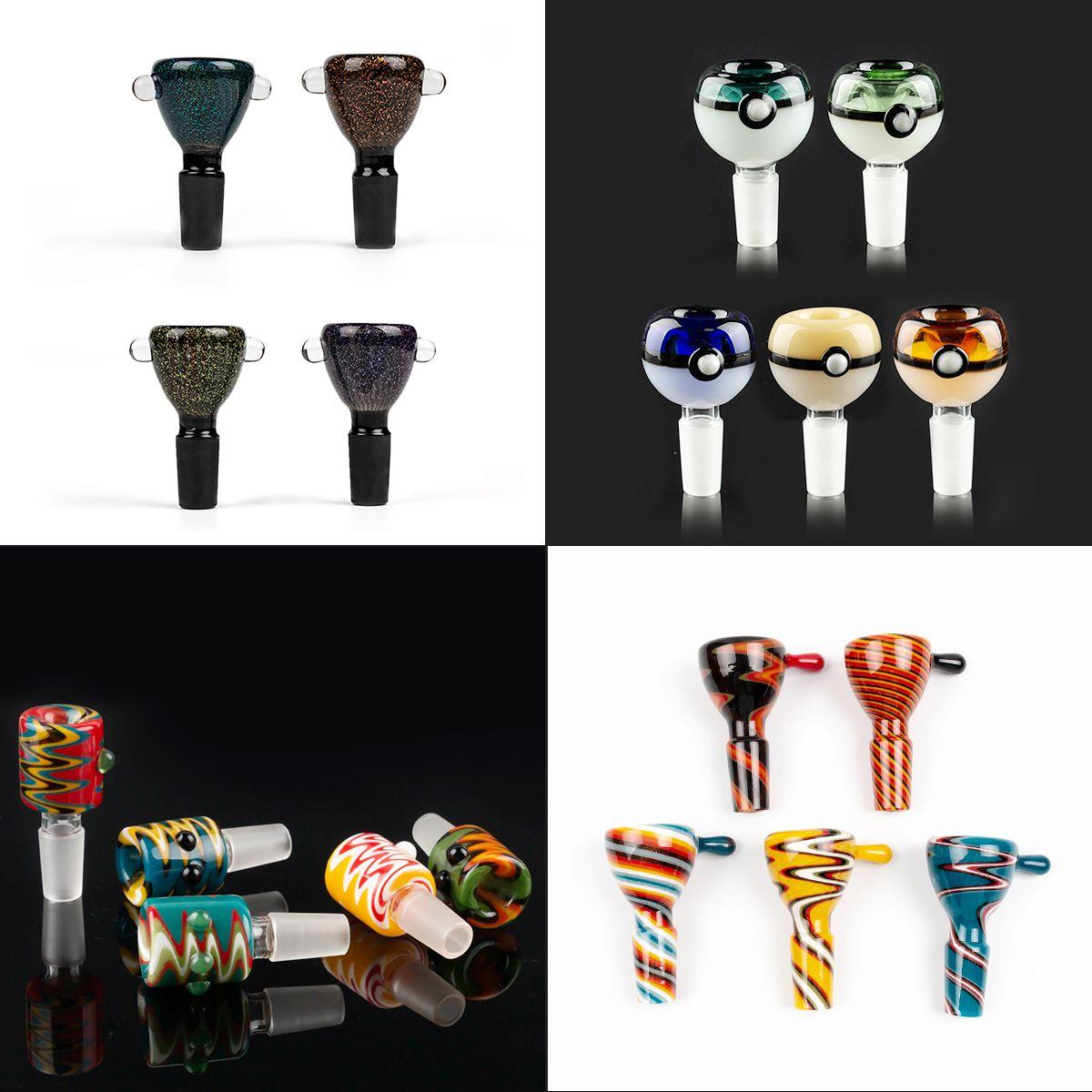 Großhandel 14mm Schüssel und 18mm männliche Glasschüssel mit Blume Schneeflocke Filterschalen für Glas Wasser Bongs Bongs Rauchen Schüsseln