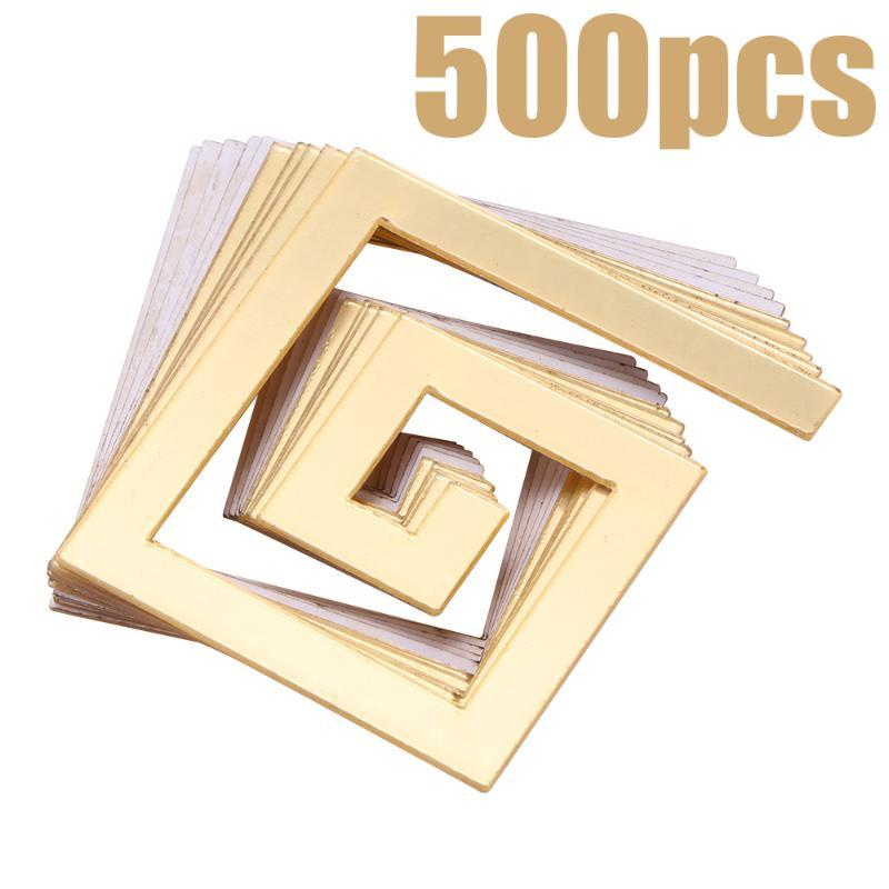 50/100/200/500pcs Building Border Acrylic Mirror Sticker Wall Art Home DIY Decoration Stickers Decor 48*48mm