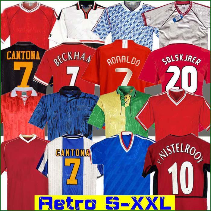 Retro United 2002 Futbol forması MAN futbolu Giggs OKULLARI Beckham RONALDO CANTONA Solskjaer Manchester 07 08 93 94 96 97 98 99 86 88 90 91 UTD