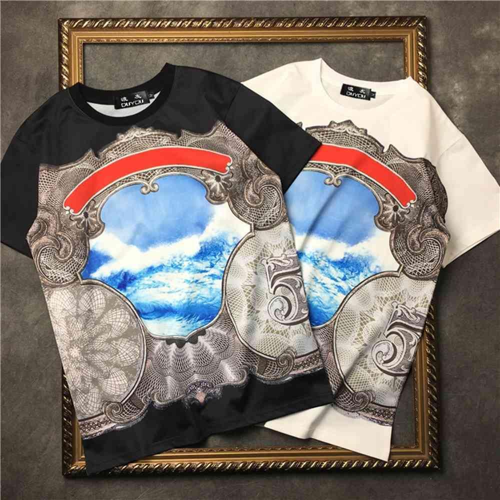 Marcelo Barrett Erkekler Yaz Slim Fit 100% Pamuk Eklenmiş Soyut Desen Kısa Kollu Tişört   Streetwear 2191001535