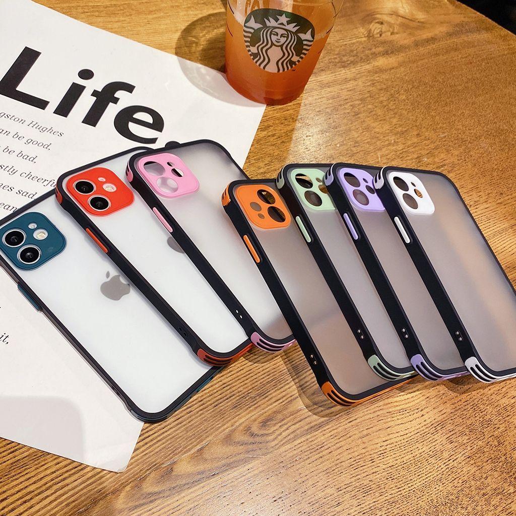 Protection des lentilles d'écran Cas de téléphone portables matchucides translucides pour iPhone 12 11 Pro Max XR XS x 8 7 Plus protecteur de caméra amovible
