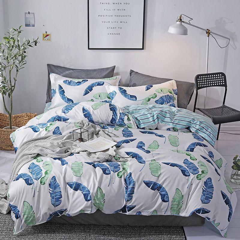 Cartoon Nordic Style Aloe Cotton Four Piece Bed Sheet Set Pillow Case Quilt Cover Bedding