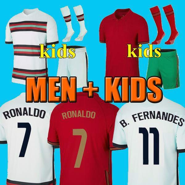 2021 Camisa de futebol RONALDO Portugal BRUNO FERNANDES JOAO FELIX NEVES BERNARDO CANCELO Camisa de futebol nacional EURO 2020 20 21 Conjunto masculino e infantil uniforme