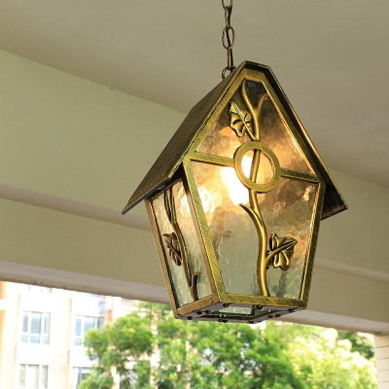 American Country Outdoor Waterproof LED Chandelier European Creative Corridor Aisle Balcony Garden Courtyard Pendant Lamps