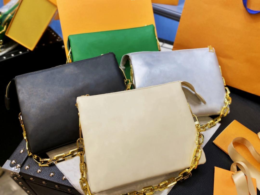 2021 Frühe Frühling Frauen Mode Schulter oder Kreuzkörper-Taschen Hotting Handtaschen Alle Leder Design Goldkette Vier Farbarten Staubbeutel Geschenkbox Verpackung