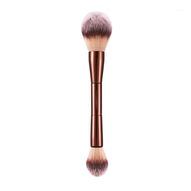 Peçe tozu makyaj fırçası - çift uçlu vurgulayıcı ayarı kozmetik ultra yumuşak sentetik saç1