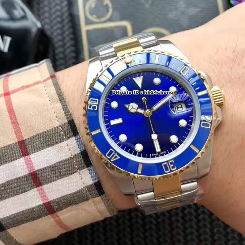 15 estilos Relojes de lujo 116613 Fecha 40mm A2813 Reloj automático para hombre Dial Azul Cerámica Bisel Amarillo Acero de oro Pulsera de dos tonos Gents Relojes de pulsera