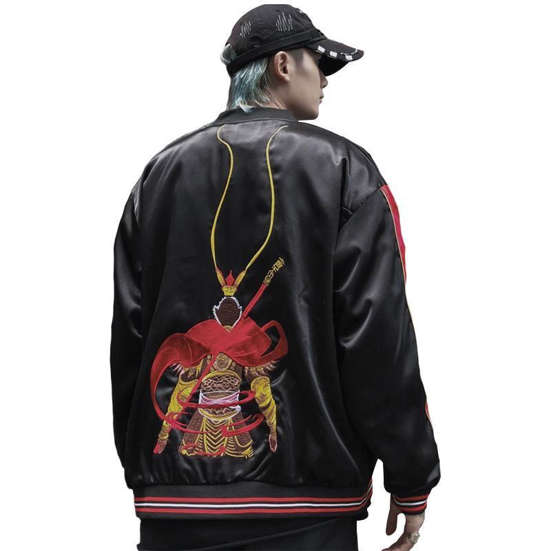 Yokosuka Sunkey Sunkey King Sun Wukong Broïdey Vestes Lisseux Hommes Printemps et automne Veste de baseball en vrac Casual Coats Hommes