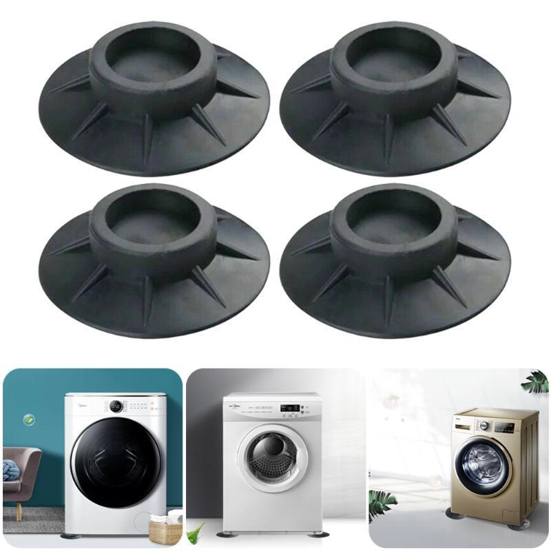 4pcs pieds pour lave-linge pneumat-caoutchouc anti-vibration anti-vibration Réduire Shake absorbant sans glissement de pied antidérapant Tapis de bain noir
