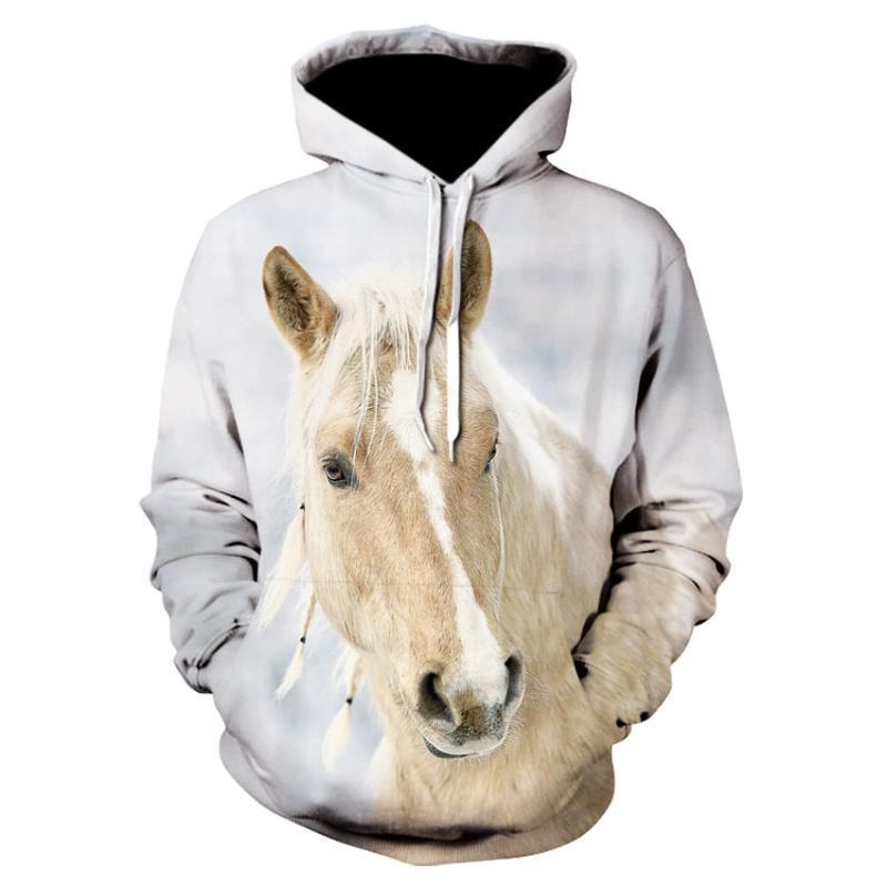 Hoodies dos homens camisolas 2021 Moletom Men / Mulheres Impressão 3D Cavalo Marrom Padrão Animal Pullover Unisex Creative Oversized