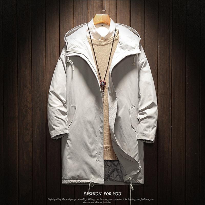 الرجال جاكيتات الخريف الشتاء الرجال خندق معطف عارضة رشاقته الدافئة مقنعين سترة الذكور سترة واقية قميص jaquet رجل معاطف