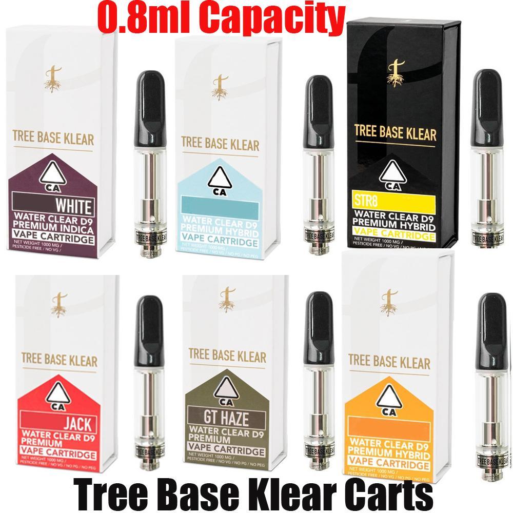 Base dell'albero Klear Vape Cartridges Atomizzatore 0.8ml Vuoto Carrelli di olio spessa vuota Carica in ceramica Pyrex Bobina Pyrex Serbatoio per 510 Penna della batteria del filo